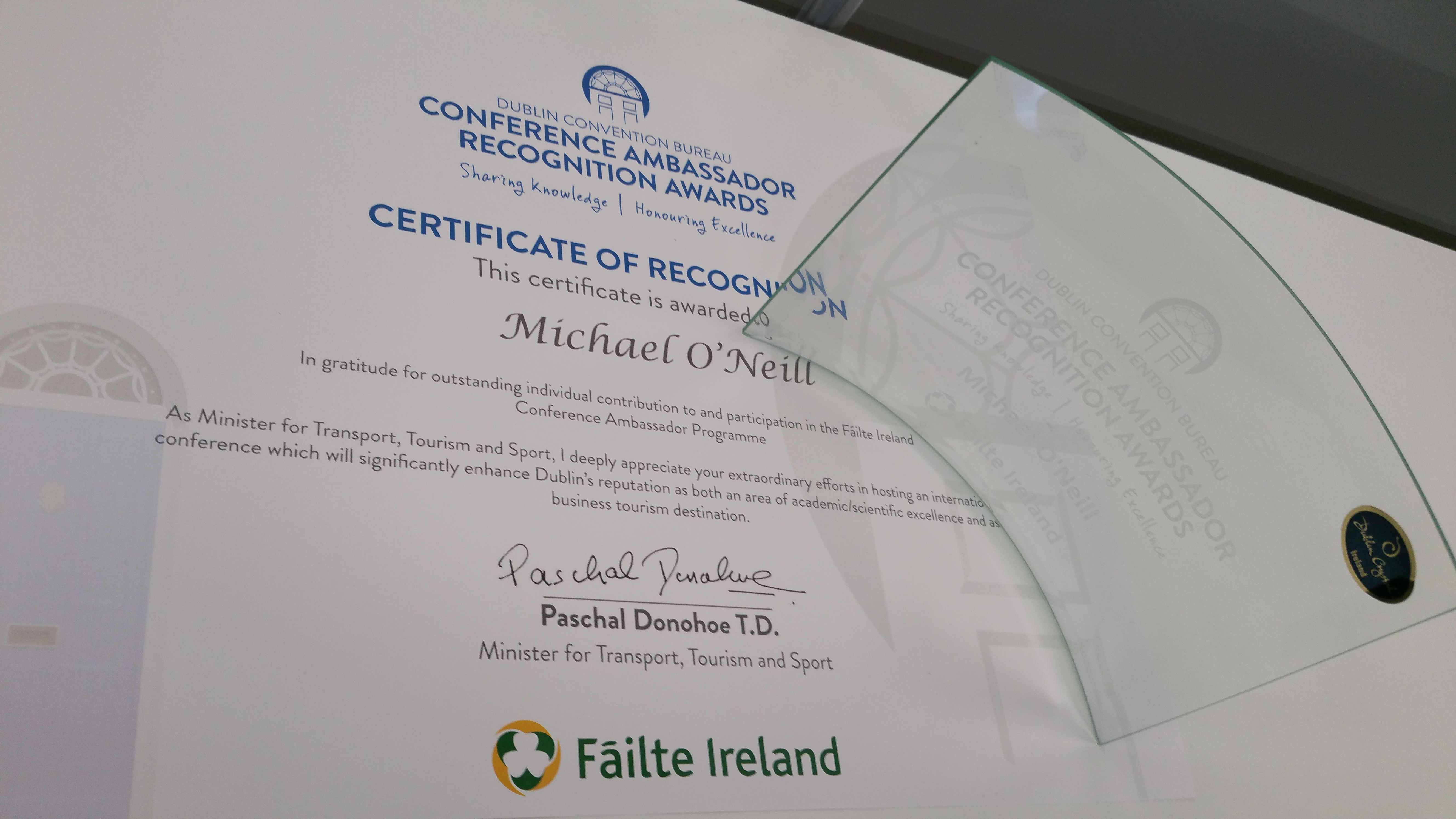 Failte Ireland Conference Ambassador Award 2016
